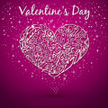 Purple background white heart drawn by hand flower pattern swirls leaves flickering with sparkles on valentine s day Royalty Free Stock Images