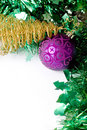 Purple ball and golden Christmas tree Royalty Free Stock Photos
