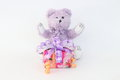 Purple bear and gift box. Royalty Free Stock Photo