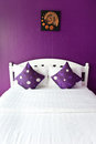 Purple Bedroom in a modern house Royalty Free Stock Photo