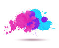 Purple and blue color ink transparent blots abstract composition Royalty Free Stock Photo