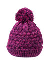 Purple bobble hat on a white background Stock Images