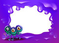 A purple border template with a three eyed monster illustration of Stock Images