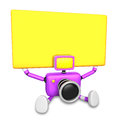 Purple camera character up yellow board a thing with both hands create d robot series Stock Images