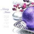 Purple Christmas ball on festive background Royalty Free Stock Photo