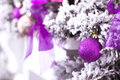 Purple Christmas ball hanging on a frosty tree. Royalty Free Stock Photo