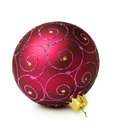 Purple christmas ball with ornament on white Royalty Free Stock Photography
