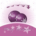 Purple christmas balls greeting with two and santa flying with his sleigh above over the Stock Image