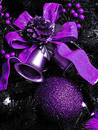 Purple Christmas decorations Stock Photo