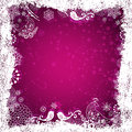 Purple christmas frame with white birds snowflakes and stars vector eps Stock Photography