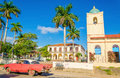 Purple classic American car in Vinales, Cuba Royalty Free Stock Photo