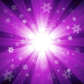 Purple color burst of light with snowflakes Royalty Free Stock Photo