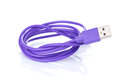 Purple computer cable Royalty Free Stock Photo