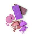 Purple crashed eyeshadow for makeup as sample of cosmetics product
