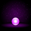 Purple crystal ball on dark background Stock Photo