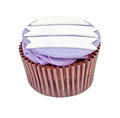 Purple cupcake with label isolated