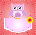 Purple Cute Owl and Text Board Stock Photos