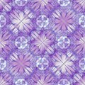 Purple decorative background tile with geometric floral motif Royalty Free Stock Photo