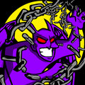 Purple demon cartoon style illustrated tearing apart his chains Stock Photo