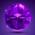 Purple dotted plastic extraordinary spherical object with flashes, glisten pixilated globe created from geometric elements.