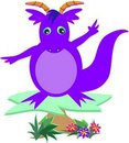 Purple Dragon on a Platform Stock Image