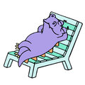 Purple dragon resting on a deck-chair. Vector illustration.