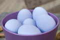 Purple eggs in bowl Stock Photo