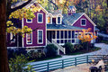 Purple Farm House In Fall Royalty Free Stock Photo