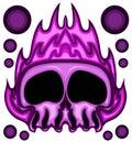 Purple Fire Skull Head Vector Illustration