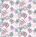 Purple floral flower leafs seamless vector pattern Royalty Free Stock Photo
