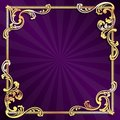 Purple frame with gold filigree Royalty Free Stock Photos