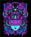 Purple Geisha cyberpunk head with cyberpunk theme