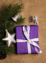 Purple gift, Christmas decorations, fir-cones Royalty Free Stock Photo