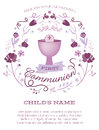 Purple Girl's First Holy Communion Invitation with Chalice and Flowers Royalty Free Stock Photo
