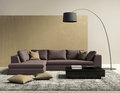 Purple and gold contemporary modern living room rendering of a Stock Image