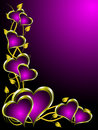 Purple and Gold Hearts Valentines Background Stock Photography