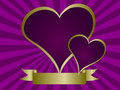 Purple and Gold valentines Day Background Illustra Royalty Free Stock Image