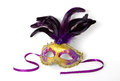Purple and Gold Venetian Mask on White Royalty Free Stock Photo
