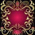 Purple gold vintage valentine frame red hearts birds flowers vector Royalty Free Stock Photography