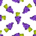 Purple grapes fruit seamless vector pattern