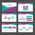 Purple Green polygon infographic element and icon presentation templates flat design set for brochure flyer leaflet website Royalty Free Stock Photo