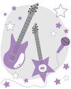 Purple guitars cute rock star Royalty Free Stock Images