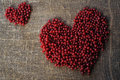Purple heart of red currant berries collected on an organically clean rural