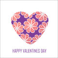 Purple heart with red flowers for valentine s day for design an and other purposes isolated Stock Images