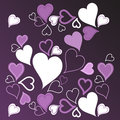 Purple hearts background Stock Photos