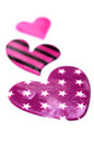 Purple hearts closeup valentines day background with small Stock Photo