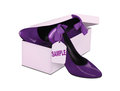 Purple heels with tag in a box Royalty Free Stock Photos