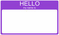 Purple Hello Nametag Royalty Free Stock Photos