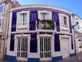 Purple house in Sarria Royalty Free Stock Photo