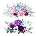 Purple hydrangea, carnation, bell flower, pink rose, anthurium, Royalty Free Stock Photo